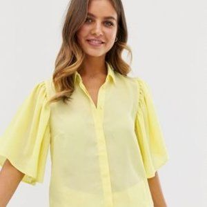 ISO Lemon cropped blouse with flutter sleeves